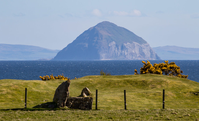 Bronze age cairn and Ailsa Craig