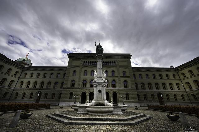 Berna Fountain near Federal Palace of Switzerland - Bern City - Switzerland