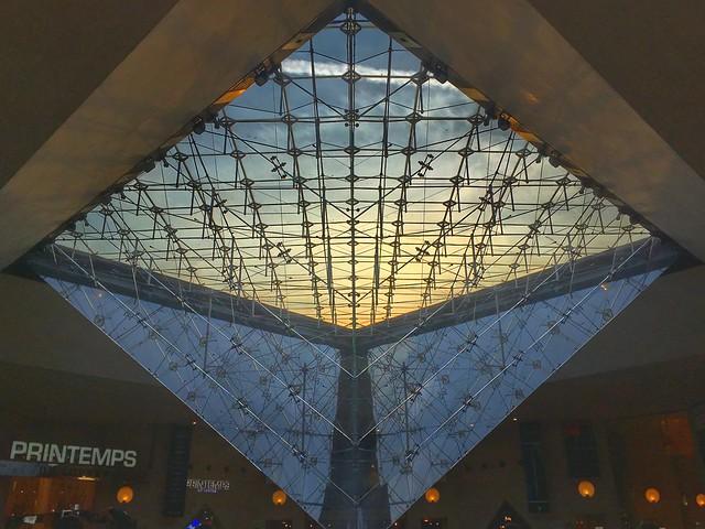 Louvre  - Paris - France  ~   I.M. Pei's glass pyramid in 1989 ~ Atrium