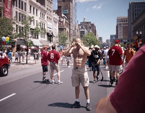 Shirtless Man on Boylston Street