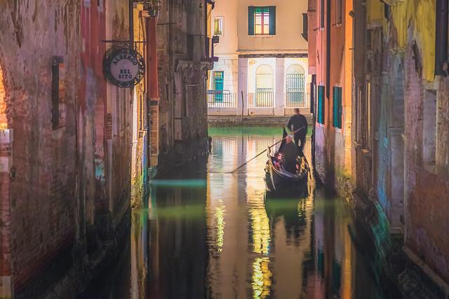 Gondola at Night, Venice