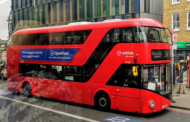Arriva London LT335 is on  Whitechapel Road while on route 254 to Holloway Nags Head. - LTZ 1335 - 29th August 2020