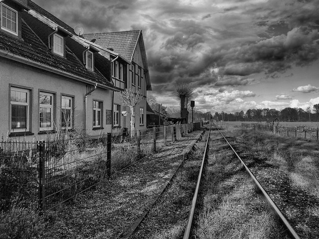 The old Trainstation of Müden/Örtze / Germany before a heavy Thunderstorm