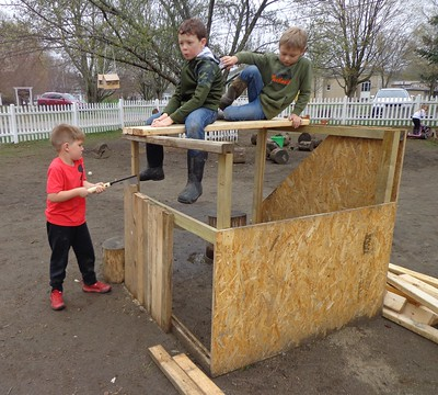 sitting up top while we finish off the sawing