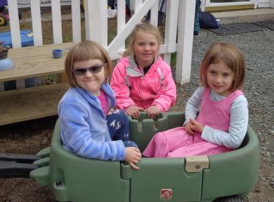 girls in a wagon