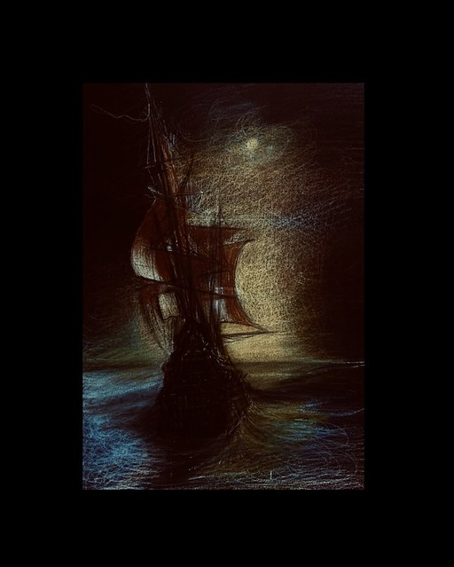An impression of a Galleon sailing towards the sunset as the shadow of night envelopes the remnants of the suns rays and hides the moon. Coloured pencil drawing on black card by jmsw.