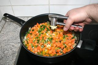 17 - Squeeze garlic in pan / Knoblauch dazu pressen