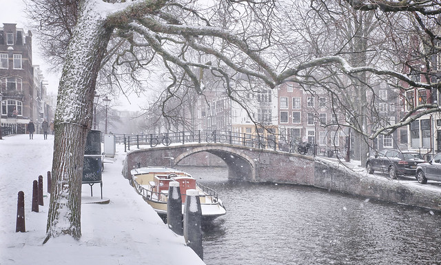 It snows in Amsterdam as if it is looking for white to black spots