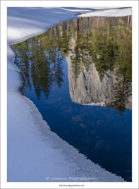 El Capitan Reflection in snowy Merced River