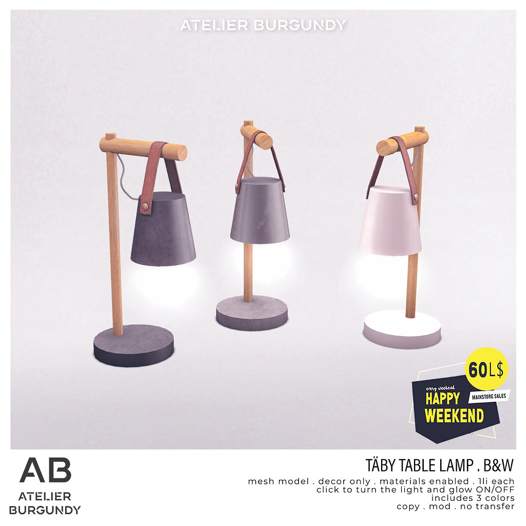 Atelier Burgundy . Taby Table Lamp B&W