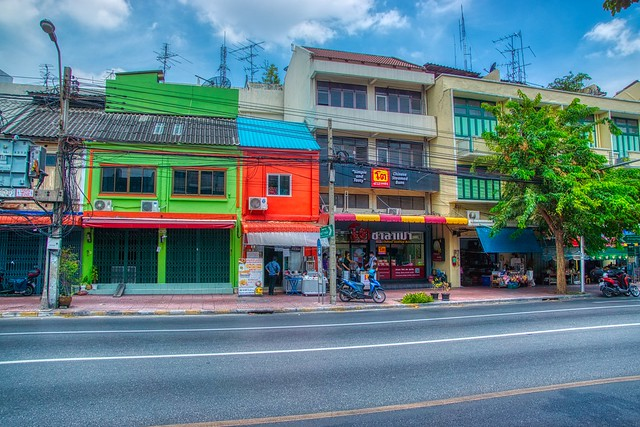 Shop houses on Maha Chai road on Rattanakosin island (Old Town) in Bangkok, Thailand