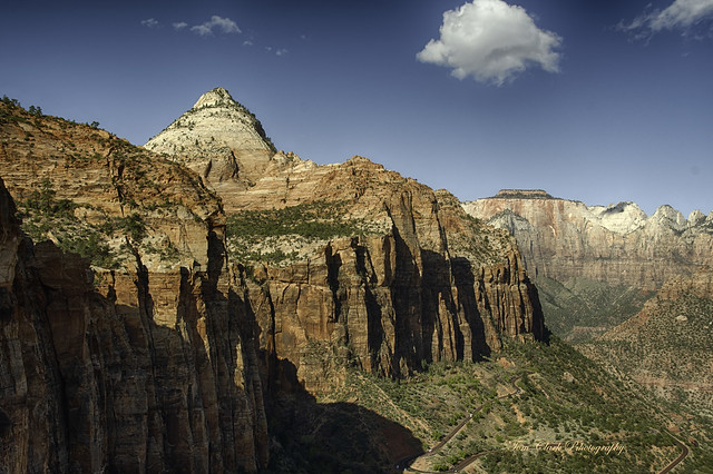 Bridge Mountain viewed from Canyon Overlook in Zion NP