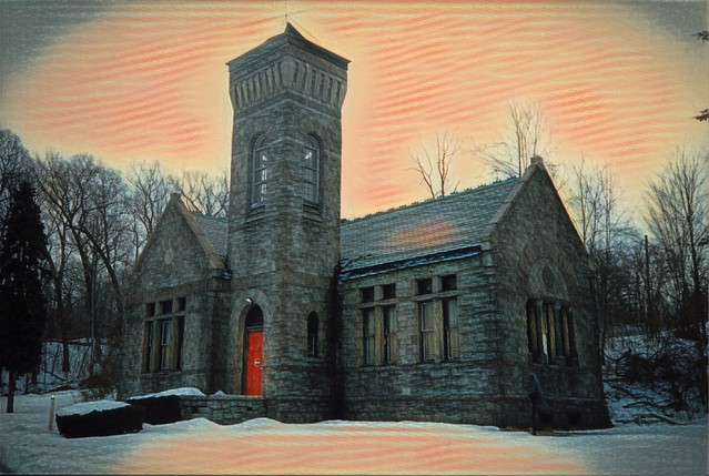Syracuse New York - Chapel at Oakwood Cemetery - Abandon - Photo  -  1980's