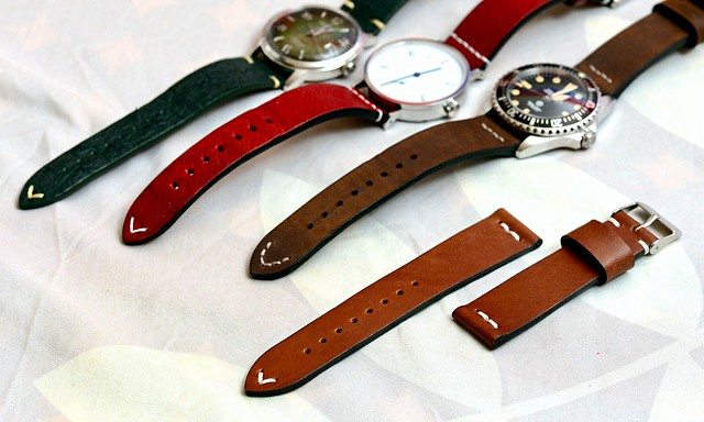 Vintage style leather watch straps