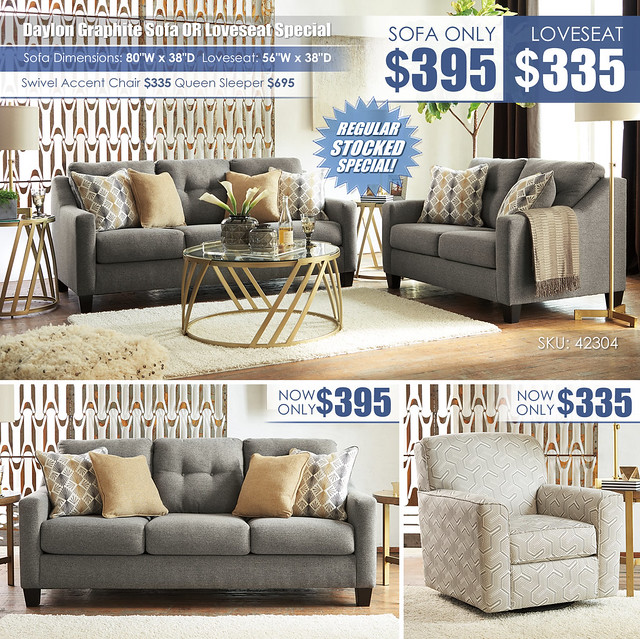 Daylon Graphite Sofa Or Loveseat Special_42304 Update
