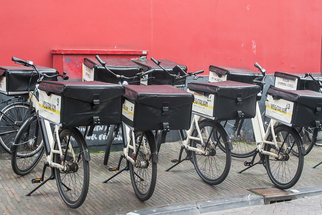 Delivery bikes parked at Neude