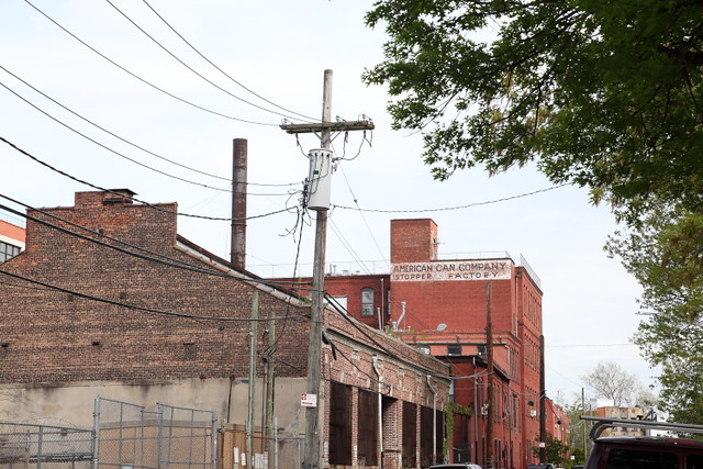 American Can Company Stopper Factory, surviving signage, Red Hook, Brooklyn