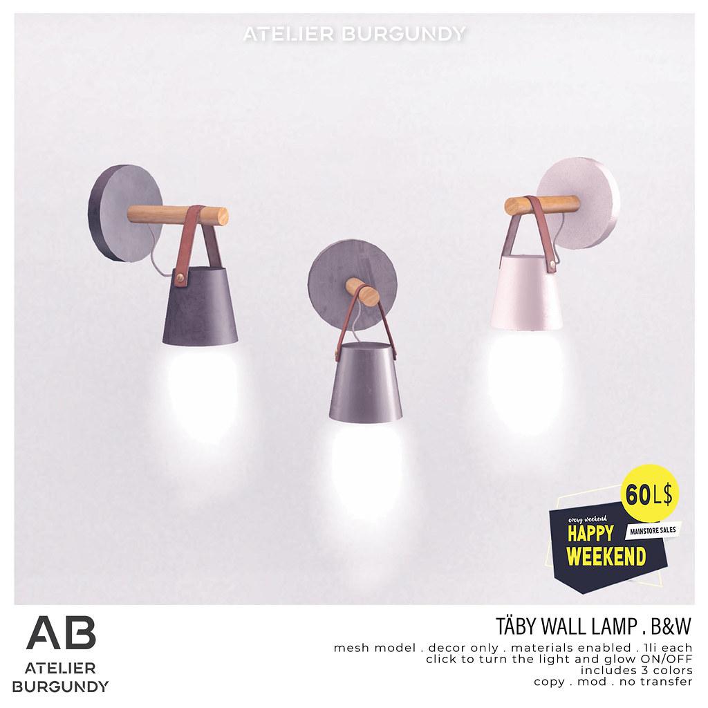 Atelier Burgundy . Taby Wall Lamp B&W