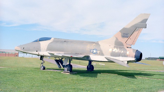 This F-100D Super Sabre used to guard the gate at RAF Sculthorpe.  54-2212 is ex Armee de L' Air, and moved to RAF Croughton after this, where it was scrapped in 2016.