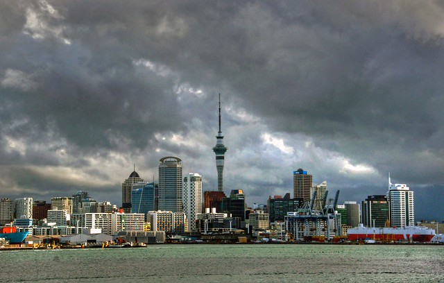 Auckland under clouds.