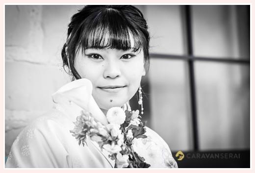 成人式写真 前撮り モノクロ写真 名古屋市