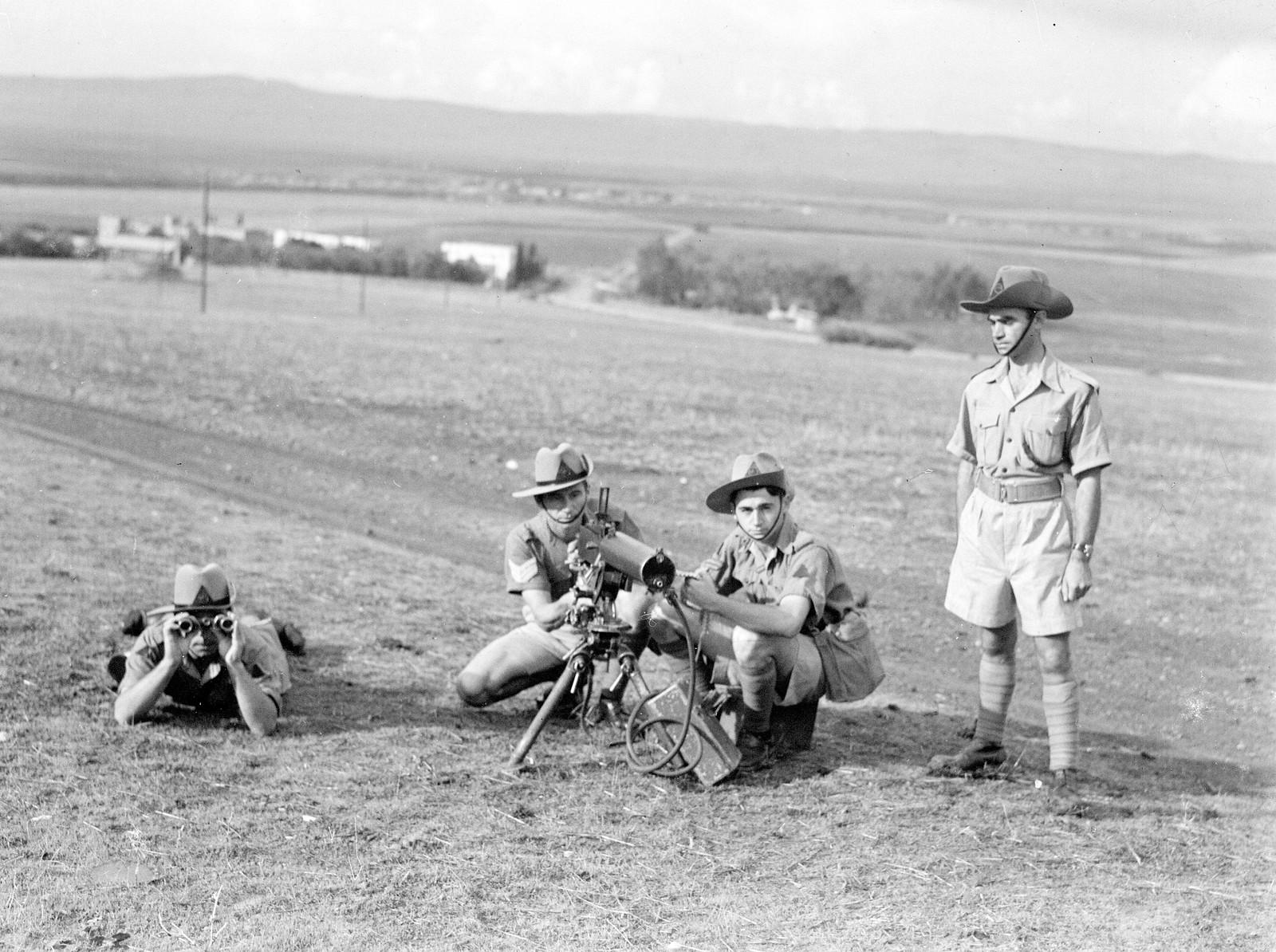 07. 1942. Еврейская поселенческая полиция во время полевых занятий на учебной базе в «Кфар Еладим»