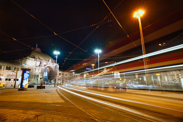 light trails nuremberg main train station