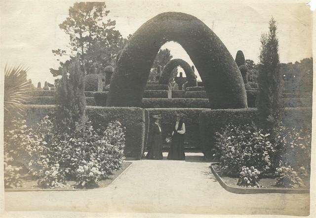 two women in topiary garden