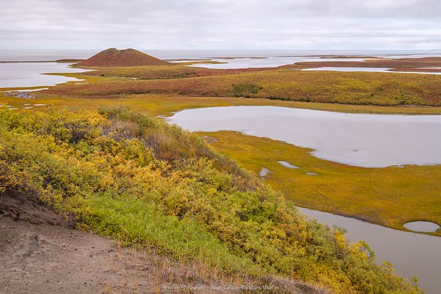 Split Pingo and  Arctic Ocean from Ibyuk Pingo