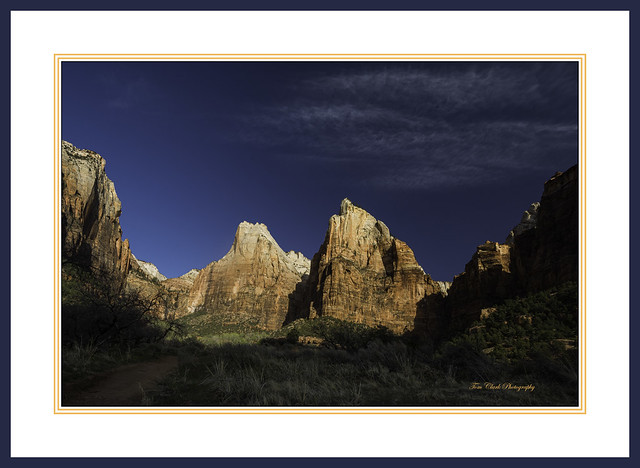 Mountains Abraham and Isaac in the Court of the Patriarchs in Zion NP at first light