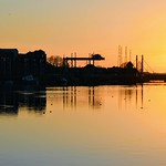 Golden scene at Preston Docks