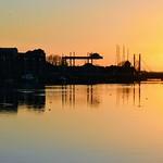 Golden scene at Preston Docks