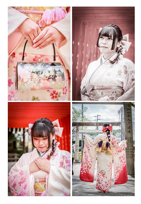 桜モチーフの振袖で成人式写真の前撮り