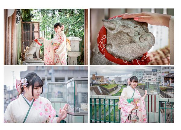 成人式写真のロケーション撮影 愛知県瀬戸市の深川神社と旧市街