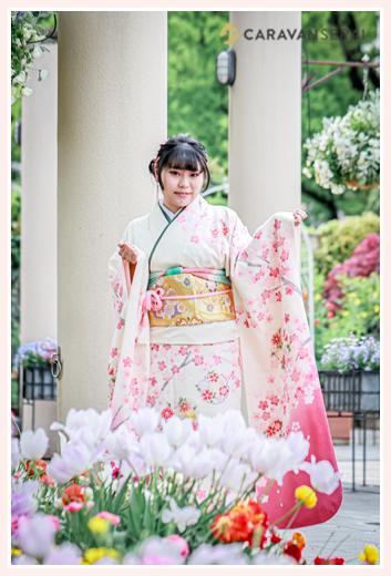 桜モチーフの振袖で成人式写真の前撮り 2021年 春の花と共に