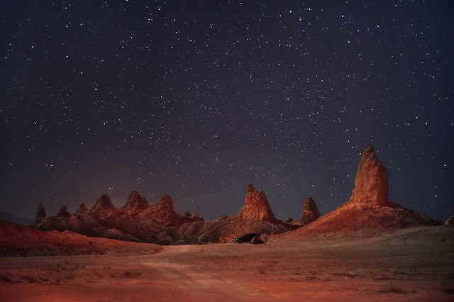 A red planet and a starry night