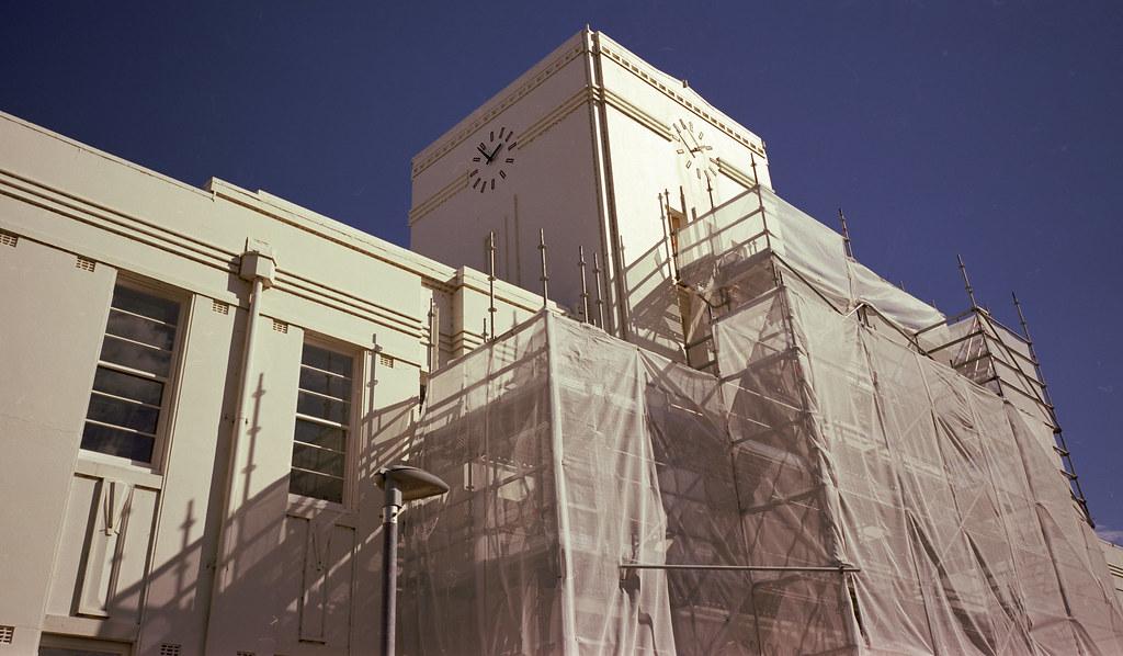 ANU building under scaffold