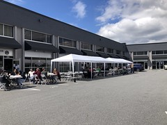 Pop-up parking lot seating in Downtown Langley