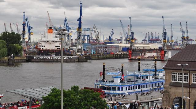 Vue sur le port, Neustadt, Hamburg-Mitte, Hambourg, Allemagne.