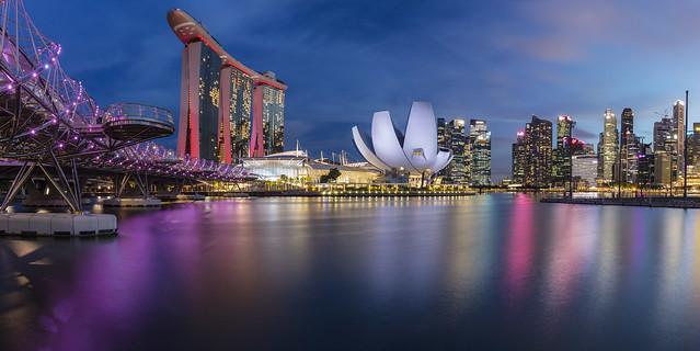 Singapore Marina Bay Night Panorama