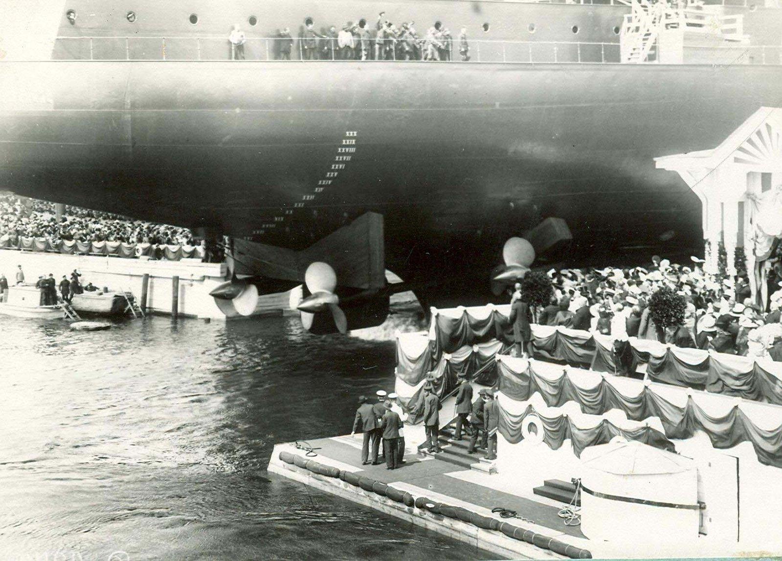 1911. Спуск линейного корабля «Севастополь» на воду