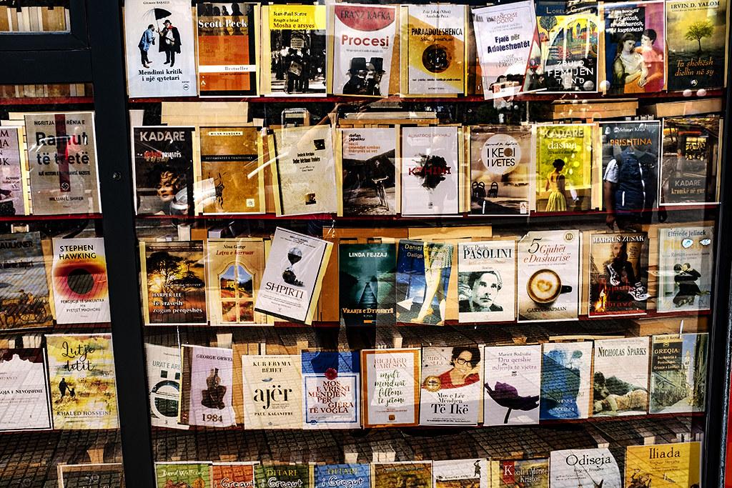 Sidewalk book kiosk on 5-6-21--Shkoder