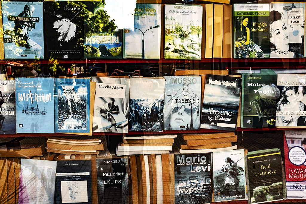 Sidewalk book kiosk on 5-6-21--Shkoder 2