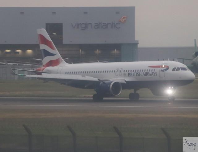 British Airways A320-251NEO G-TTNI landing at LHR/EGLL