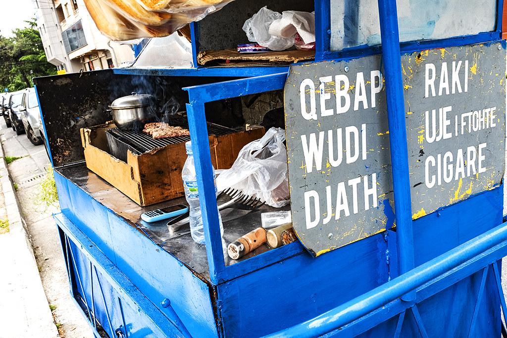 Raki sold at kebab cart on 5-7-21--Shkoder
