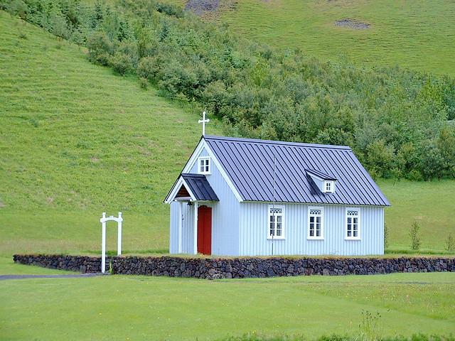 Islande, une petite église de Skogar Eyjafallahreppur