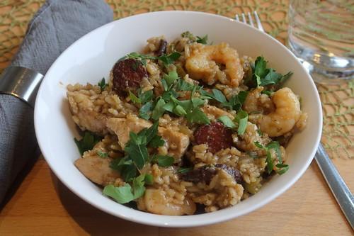 Traditionelles Jambalaya Cajun Style (meine Portion)