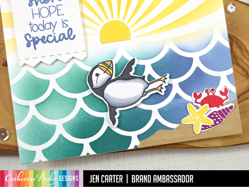 Jen Carter Waves of Happiness Puffin Cleo Special Day Swimming Closeup