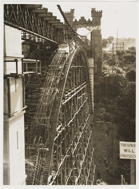 Northbridge Suspension Bridge being converted to cantilever construction, North Sydney, ca. 1938, Ted Hood