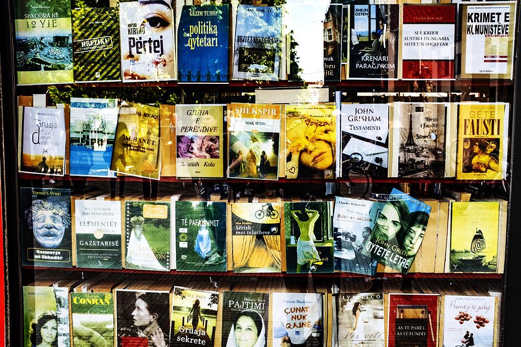 Sidewalk book kiosk on 5-6-21--Shkoder 3